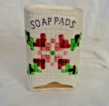 White Pink and Green Soap Pad Dispenser Porcelain for hanging brick wall effect