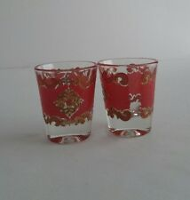 Starlyte Mid Century Red & Gold Overlay Shot Glass Set Of 2