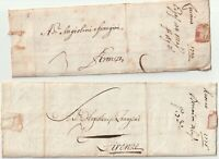 1734/6 2 x ITALY PRE-STAMP LETTERS LIVORNO TO FIRENZE - ITALIE - ITALIAN STATES