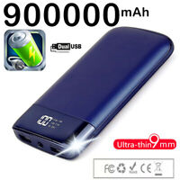 NEW 900000mAh Portable Power Bank Dual USB LED LCD Fast Battery Charger Backup