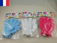 Paire de gants de bain exfoliants massage peau 3 couleurs au choix