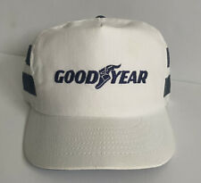 Vintage GoodYear Snapback Cap Hat Swingster White Blue Two Stripe Embroidered
