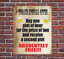 Oggi offerta speciale Pub Birra BAR Divertente Muro in metallo segno Regalo proprietario