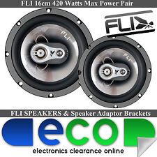 VW Polo 6N2 1999-03 FLI 16cm 420 Watts 3 Way Front Door Car Speakers & Brackets