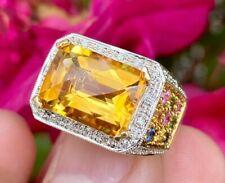 Citrine Diamond Sapphire Multi-Gemstone Cocktail Ring 14k Yellow Gold JCR