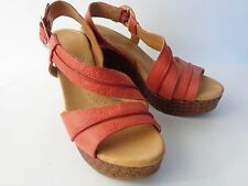 NAYA Estra US 9M EUR 41 Coral Leather Platform Wedge Sandal Shoe