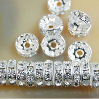 20 pieces perle strass intercalaire Argenté 10mm rondelle 10 mm