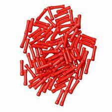 100Pcs Red Wire Butt Connectors Vinyl 22-18 Gauge AWG Ga Car Radio Terminals
