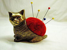 Brass Metal Cat / Kitten Sewing Pincushion / Pin Cushion