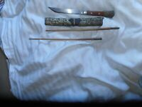 ANTIQUE TIBETAN KNIFE AND SCABBARD WITH CHOP STICKS