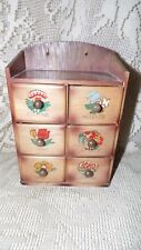 VINTAGE SEWING BOX WITH 6 DRAWERS WOOD WALL HANGING