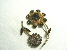 Vtg. 2 Rhinestone Flower Brooches