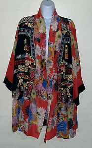 Beautiful Women's Johnny Was Silk Mishka Rose Kimono (XL)