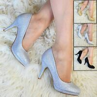 Womens Sparkly Glitter High Heel Pumps Ladies Court Shoes Evening Size 3-8  CH1P