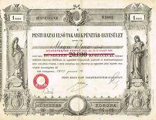 HUNGARY BUDAPEST FIRST SAVINGS ASSOCIATION stock certificate 1927