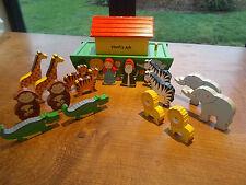 Childrens Wooden Noahs Ark Toy & Wood Animals Tiger Lion Zebra Monkey Elephant