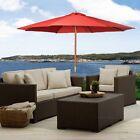 Outdoor 10Ft Umbrella Sun Shade Wood Pole Beach Cafe Patio & Garden Red Goplus