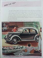 Publicité 1938 FORD V8 MOTOR COMPANY  automobile car déco réclame advertising