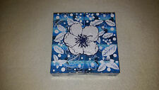 "New Gift Box Wrap. Blue & White 5.6"" x 5.6"" x 1.4"" Open from both sides"