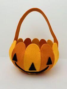 Vintage Halloween Felt Jack O Lantern Basket Handled Handmade Trick Or Treat