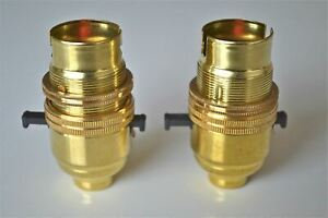 2 BRASS SWITCH BAYONET FITTING LAMP BULB HOLDER LAMP SHADE RING 1/2 INCH R1