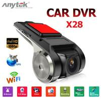 Anytek X28 HD 1080P 150° FOV Dash Cam Car DVR Camera Recorder WiFi ADAS G-sensor