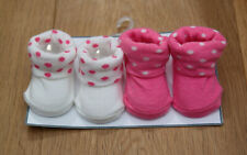 Carter's Baby Girl 2 Booties Set ~ White & Pink ~ Polka Dots ~