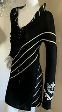 GIANFRANCO FERRE Black White Optical Patterned Embroidery Appliques DRESS S 42