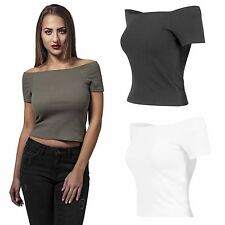 Urban Classics T-Shirt Damen Off Shoulder Rib Trägerloses Top Shirt Bauchfrei