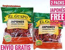 2 BAGS CHILE PODS JAPANESE EL GUAPO CHILE JAPONES Net 2.5 oz. EACH NEW SEALED