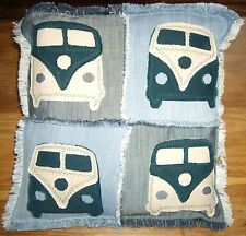 Camper Van Style Cushion Cover, Handmade Patchwork Pop Art Style Cushion Cover