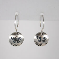 Genuine 925 Sterling Silver Butterfly Etched Dome Circle Drop Dangle Earrings