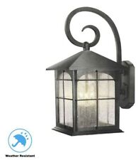 Home Decorators Brimfield 3-Light Aged Iron Outdoor Wall Lantern Sconce