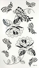 KH Black and White Flowers, Butterflies Glitter Temporary Tattoos HM170