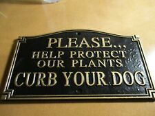 Whitehall Curb Your Dog Poop  Cast Aluminum Plaque Sign Wall Mount