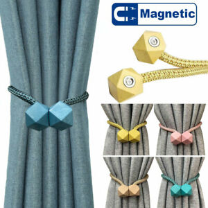 2Pc Magnetic Curtain Tiebacks Clips Holdbacks Ball Buckle Curtain Tie Backs Rope