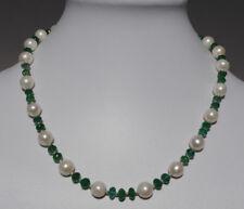 Smaragd Kette, feine facettierte Smaragd Kette mit Süßwasser Perlen
