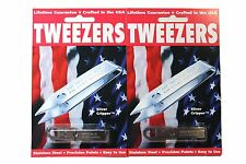 2 Uncle Bill's SLIVER GRIPPER Stainless Steel TWEEZERS KeyChain Survival Gear
