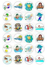 24 SWIMMING CUPCAKE TOPPER WAFER RICE EDIBLE FAIRY CAKE BUN TOPPERS