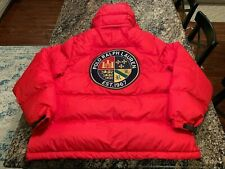 Polo Ralph Lauren Puffer Down Hill Skier Jacket Red Mens 1XB Cookie Patch Coat