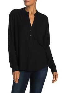 JAMES PERSE POCKET PULLOVER SHIRT IN BLACK SIZE 1 NWT $155