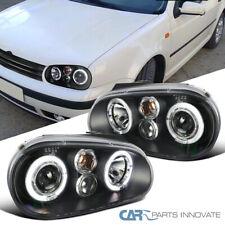 Fit VW 99-06 Golf Mk4 GTI R32 Cabrio Black Halo Projector Headlights Head Lamps