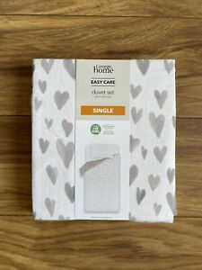 BRAND NEW GEORGE HOME WHITE WATER HEARTS SINGLE DUVET SET