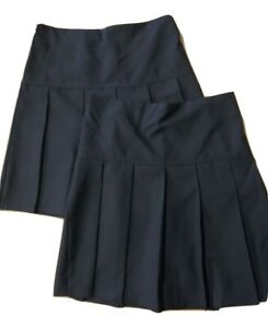 Girls M&S ((TWIN PACK)) Pleat School Uniform Skirt Grey Black Navy Marks Spencer