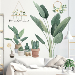 Removable Wall Stickers Tropical Green Plants Potted Cactus Cacti Hanging Flower