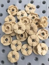LEGO 2x2 Round Tan Plate With Axle Hole Pieces New Part 4032 Lot Of 24