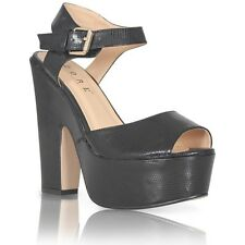 LADIES PLATFORM HIGH CHUNKY HEEL PEEP TOE ANKLE STRAP NEW SANDALS SHOES SIZE 3-8