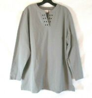 New Denim & Co. V Neck Tunic Shirt Grey Sz XL Stretch Grommet Pull On Women XR3