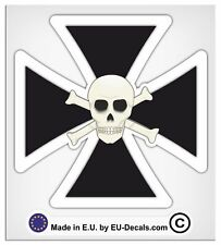 "100mm-4"" Maltese Iron Cross Scull Black White Laminated Decal Sticker hod rod vw"