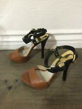 Michael Kors Two-Tone Strap Buckle High Heels Camel Tan Black Womens Us Size 6.5